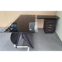 강화 유리 책상 세트 책상+사이드